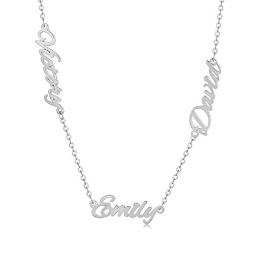 925 Sterling Silver Personalized Name Necklace Custom Name Plate Necklace - One, Two,Three or More Names Chain Necklace (Silver, sterling-silver)