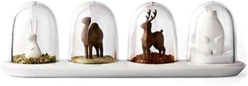 Anjing Set van 4 Keuken Kruidenpot met Dienblad Kruiden Shaker Creatieve seizoen kruiden doos