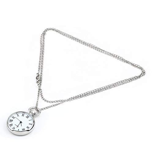 Reloj de Bolsillo Redondo de Cuarzo a la Moda, Esfera, Collar Vintage, Colgante de Cadena de Plata, Estilo Antiguo, Elegante y Bonito Regalo (Astilla + Blanco)