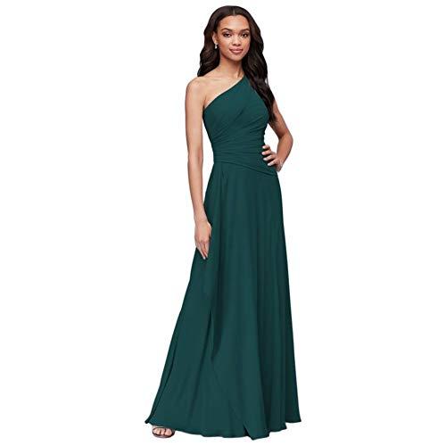 One-Shoulder Georgette Cascade Bridesmaid Dress Style F19832, Gem, 22