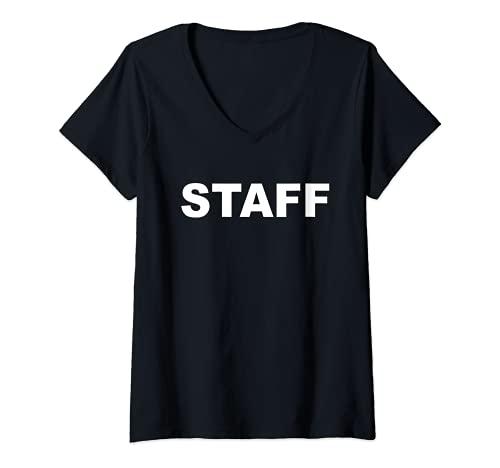 Mujer Staff para empleados y personal de la empresa Camiseta Cuello V