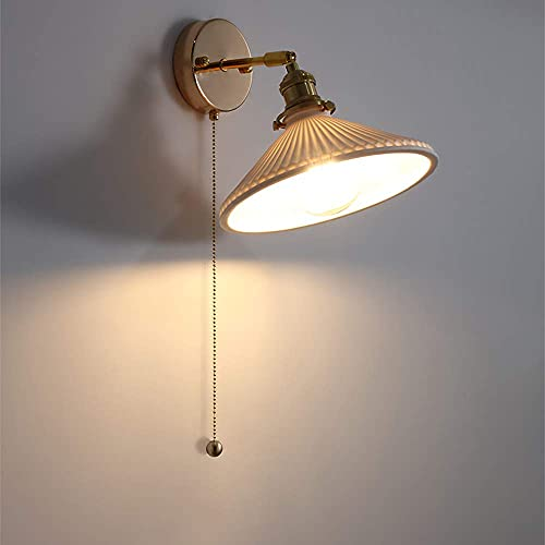 FXLYMR Wall Lamp Chandelier Luxury Fashion Ceramic Adjustable Angle with Drawstring Switch Rmodern Copper Wall Lanterns with E27 Base Fixture for Bedroom Bedside Reading Lamp