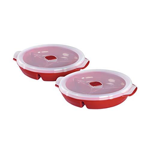 Xavax Mikrowellenteller Set mit Deckel, 2-teilig (mikrowellengeeignete Menü-Teller mit 3 Fächern, ideal zum Einfrieren/Erhitzen von Speisen, verschließbares Mikrowellen-Geschirr spülmaschinenfest) Rot