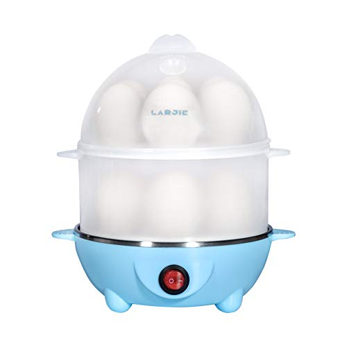 Electric Egg Boiler Cooker Rapid Poacher 7 or 14 Capacity Soft Medium Hard Boiled or Poached for Hard Boiled Scrambled Eggs or Omelets Steamed Vegetables Seafood w/Auto Shut Off Feature Blue