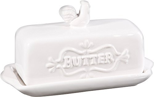 Home Essentials 7'L Covered Butter Dish With Rooster Finial 7 X 3 X 4 inches, White