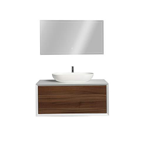 Badmöbel Fiona 900 Weiß matt - Front in Eiche- - Spiegel und Aufsatzwaschbecken optional