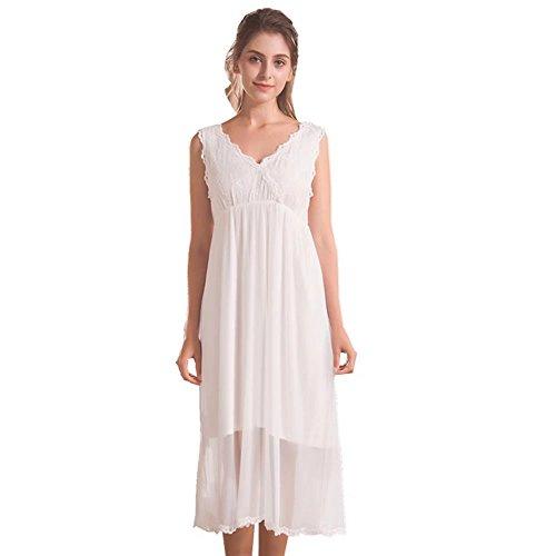 """QLX Damen Kleid Nachthemd Schlafanzüge à""""rmellos/Lang Absatz Dessous Baumwolle Reine Farbe, Weiß, L"""