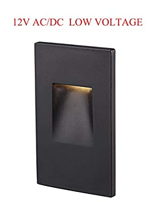 Cloudy Bay 12V Low Voltage LED Step Light,3000K Warm White Vertical Stair Light,Oil Rubbed Bronze