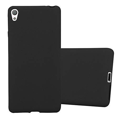 Cadorabo Hülle für Sony Xperia E5 in Frost SCHWARZ – Handyhülle aus flexiblem TPU Silikon – Silikonhülle Schutzhülle Ultra Slim Soft Back Cover Hülle Bumper