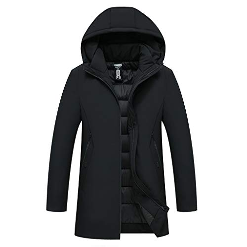 LUCAMORE Mens Winter Warm Overcoat Medium and Long Thicker Cap Cotton Coat Acket Clothing Outerwear Outdoor Jacket Black