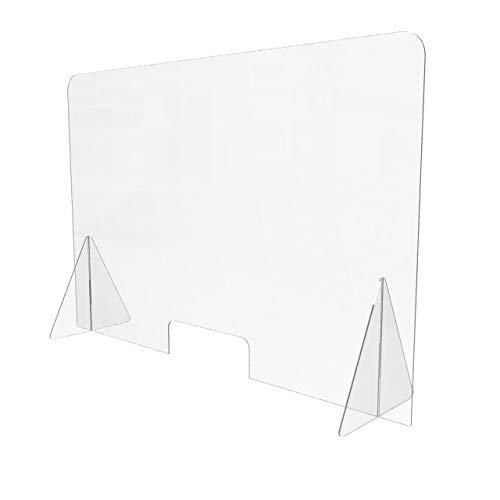 Sneeze Guard for Counter (48'W x 32'H), Freestanding Plexiglass Shield with Transaction Window, Portable Clear Acrylic Plastic Barrier for Countertops, Desk, Cashier, Manicurist [Made in USA]