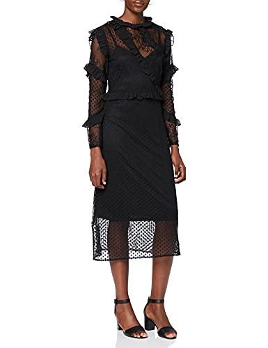 Marchio Amazon - find. Vestito Midi di Pizzo Donna, Nero (Black), 42, Label: S