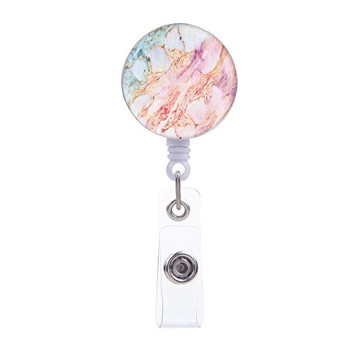 Retractable Badge Holder ID Card Holder Reel with Alligator Clip,Pink Marble Decorative Name Badge Clip,Badge Lanyard Reel,24 inch Retractable Nylon Cord
