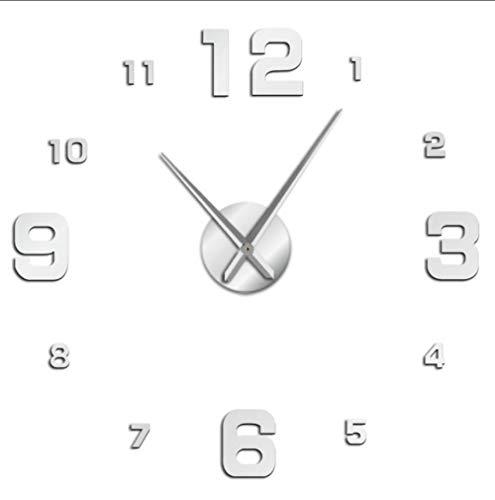 LAYYYQX Wandklok Mute Mirror Stickers Modern Wall Clock Ticking for Living Room Bedroom Kitchen