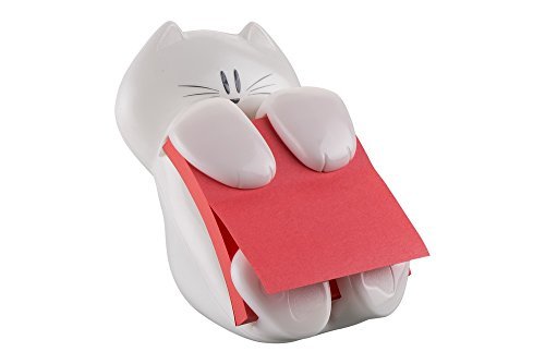 Post-it Super Sticky Z-Notes Spender ausgefallene Zettelbox in Katzen-Form – 1x Zettelhalter Katze in Weiß mit Grau inkl. 1 Block Super Sticky Z-Notes (76 x 76 mm) in Rot