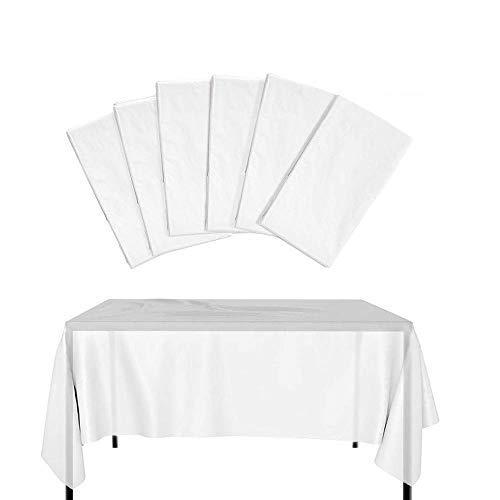 knowing 6 Piezas Mantel Desechable, Mantel Plástico Grueso Impermeable, Blanco Translúcido, Cubierta Mesa Jardín al Aire Libre, para Banquetes Fiesta Cumpleaños Boda Barbacoa