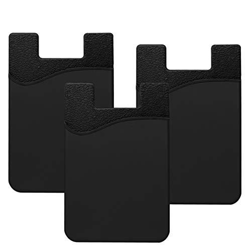 takyu Handy Kartenhalter, 3 Pcs Aufkleber Karten Etui Kartenfach Klebt Sich am Smartphones Wand Tisch(Schwarz)