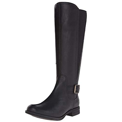 WUSIKY Geschenk für Frauen Stiefeletten Damen Bootsschuhe Boots Fashion Weisecowboy Reitstiefel Retro beiläufige große mittlere Schlauch lädt Schuhe auf (Schwarz, 35 EU)