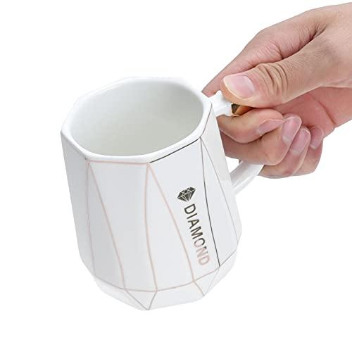 SALALIS Taza para Bebidas, diseño de Capacidad de 400 ml Taza de cerámica Liviana y portátil, pequeña y Exquisita, con Mango cómodo antiescarcha para familias(White Spoon with Lid)