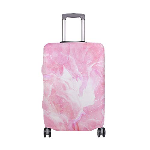 ALINLO Hipster Pink Marble Abstract Luggage Cover Baggage Suitcase Travel Protector Fit for 18-32 Inch