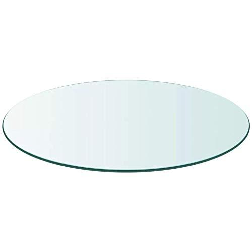 Meubletmoi dienblad, rond, van gehard glas, transparant – tafelblad robuust – voor tafel & salontafel 60