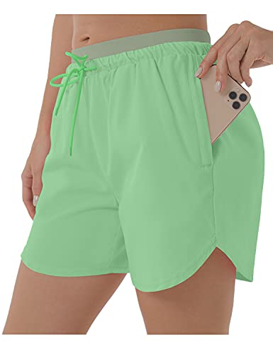 XIEERDUO 5 Inches Workout Shorts for Womens Athletic Running Shorts with Zipper Pocket 2 in 1 Knit Waistband Mint Green M