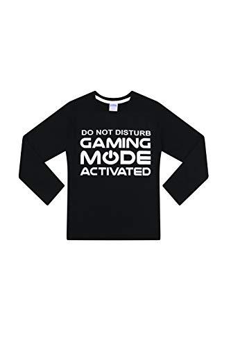 The Pyjama Factory Do Not Disturb Gaming Mode Activated Woven Long Pyjamas, Black , 13-14 Years
