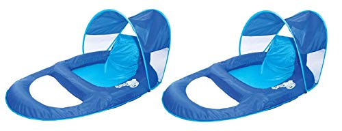 SwimWays Spring Float Recliner Pool Lounge Chair w/Sun Canopy, Blue (2 Pack)