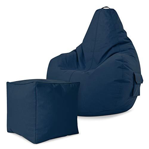 Green Bean Gaming © 2er Set - Cozy Sitzsack 80x70x90 cm + Cube Hocker 40x40x40 cm - 14 Farben - fertig befüllt - robust, waschbar, schmutzabweisend - für Kinder und Erwachsene - Dunkelblau