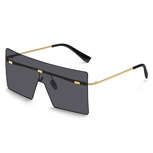 KUGUAOK Oversized Rimless Sunglasses for Women Fashion Flat Top Square Shades 100% UV Protection Sun Glasses