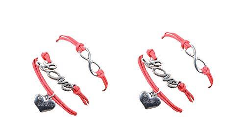 Lot de Deux Bracelets Sister Rose Saumon Coeur Strass Love et Lien Infini. Cadeau pour Une Soeur