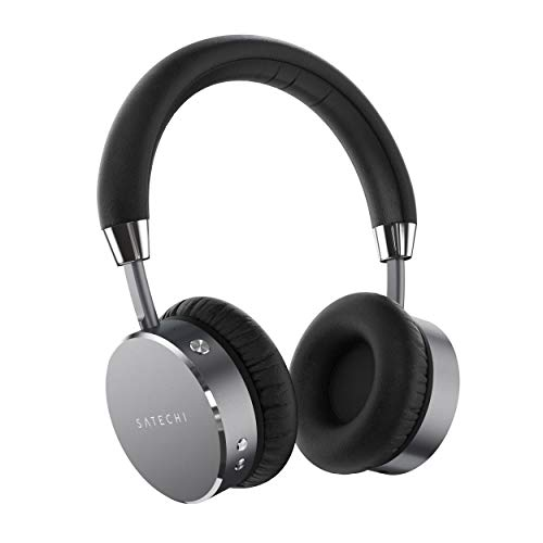 Satechi Aluminum Bluetooth Wireless Headphones with Enhanced Bass 3.5mm Audio-Out Jack - Compatible with iPhone 11 Pro Max/11 Pro/11, Xs Max/XS/XR/X, 8 Plus/8, 2019 iPad/2018 iPad Pro (Space Gray)