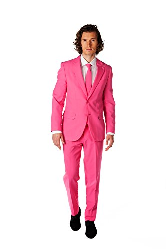 OppoSuits Solid Color Party Suits for Men Pink – Full Suit: Includes Pants, Jacket and Tie Traje de Hombre, Mr. Rosa, 40