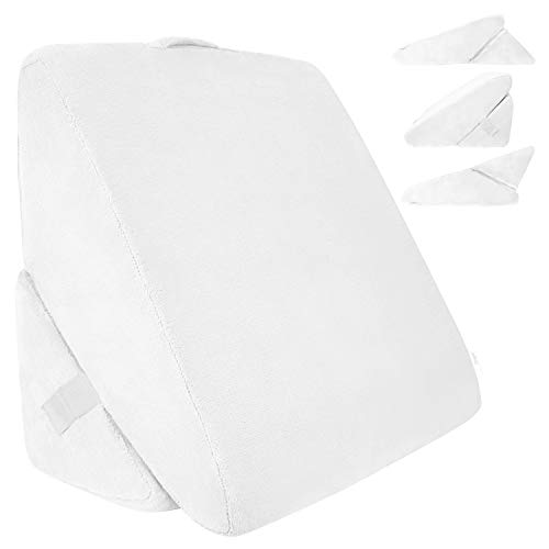 Xtra-Comfort Bed Wedge Pillow - Folding Memory Foam Incline Cushion for Back and Legs - Triangle Shaped Reading Support - Washable (Cloud White)