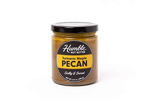 Humble Nut Butter | Turmeric Maple Pecan Butter | Slightly Sweet | Organic Turmeric, Ginger, Cinnamon, Maple Sugar, Pecans | Vegan, Gluten Free, No Refined Sugars, No Palm Oil, Soy Free | 8.4 oz Jar