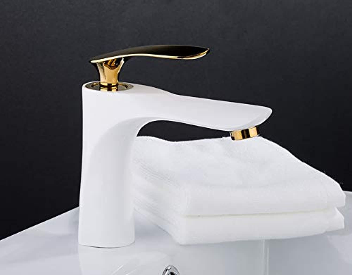 gold White Painting Faucet Basin Sink Tap Single Handle Basin Mixer Tap Hot and Cold Water Deck Mounted Basin Tap