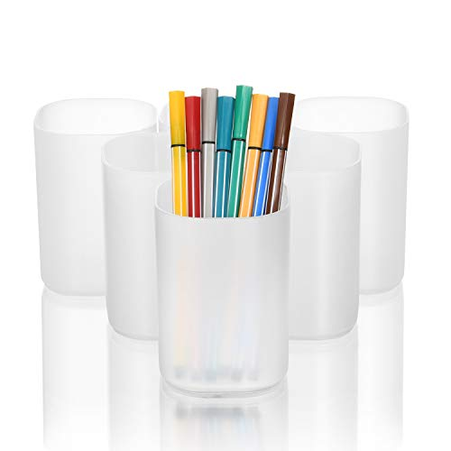 Marbrasse Desk Organizer - 6Pcs Pen Holder Cup Storage,Pen Organizer Stationery Caddy for Office, School, Home Supplies Translucent White