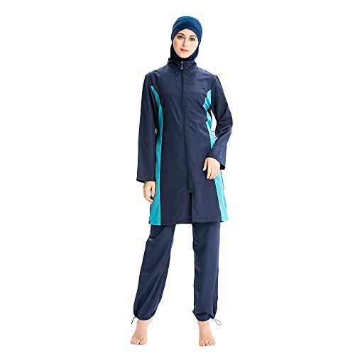 Burkini, Muslimische Badebekleidung für Damen, für den Strand, Muslima, islamischer Badeanzug, Sport, Schwimmen, Surfen, Marineblau, Größe L