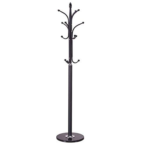 CongMing-yimaojia Sombrero De La Ropa Sombrero del Árbol De La Ropa, Colgador De Metal Europeo Base De Acero Inoxidable, Negro/Blanco / 38 * 177cm