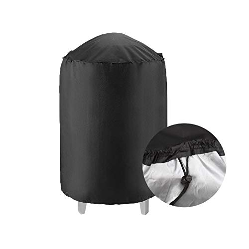 PTN Cubierta para Barbacoa, Cubierta Redonda para Parrilla de Barbacoa, Tela Oxford Impermeable Anti-UV Resistente al Desgarro, Negra con Cordón Grande 28 Pulgadas (71 * 68 cm)