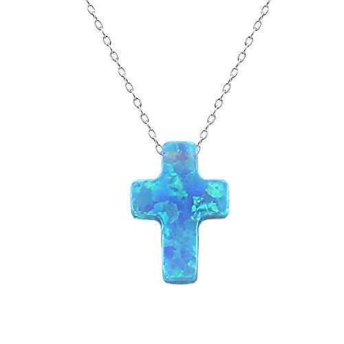 ZeSen Jewelry Collar del Collar Encantador de Plata Azul ópalo Cruz Colgante Gargantilla Sterling (2) Cielo Azul