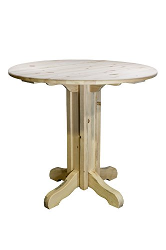 Montana Woodworks Homestead Collection Pub Table with Round Table Top, Clear Lacquer Finish