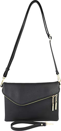 B BRENTANO Fold-Over Envelope Wristlet Clutch Crossbody Bag (Black.)