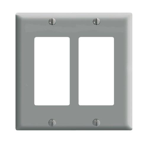 Leviton 80409-GY Decora Wall Plate, 2 Gang, Grey