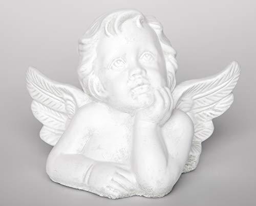 Tiefes Kunsthandwerk Steinfigur Engel groß - Antik-Weiss, Figur Deko Grabschmuck Garten Putte