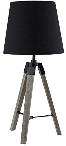 BRUBAKER Dreibein Tisch- oder Nachttischlampe 57 cm Holz Silbergrau/Schwarz - Designed in Germany