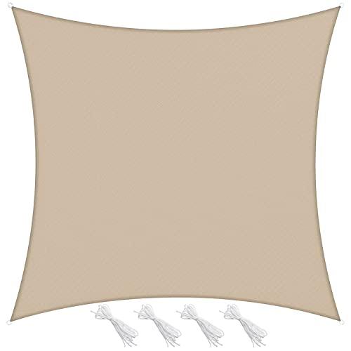 Velway Tenda a Vela Ombreggiante 3x3m Rettangolare, Telo Parasole Tenda da Sole Esterno in Oxford 300D Anti-UV e Antipioggia, Tendalino per Giardino Barca Balcone Terrazza Campeggio, Cachi