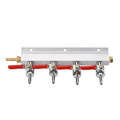 Divisor de cerveza de gas de aire Co2 para el hogar Muti-way de 4 vías, divisor de distribución de cerveza para hacer cerveza casera, herramienta fácil de usar y limpiar