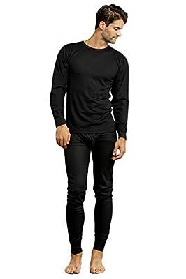 Men's 2pc Long Thermal Underwear Set (Black, Large)