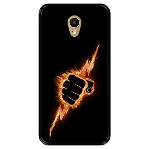 Hapdey Funda Negra para [ Meizu M5 Note ] diseño [ Puño ardiente apretando un Rayo ] Carcasa Silicona Flexible TPU